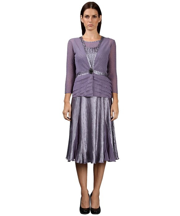 Komarov 2 Piece Set Dress/Jacket With Brooch in Purple | Lyst