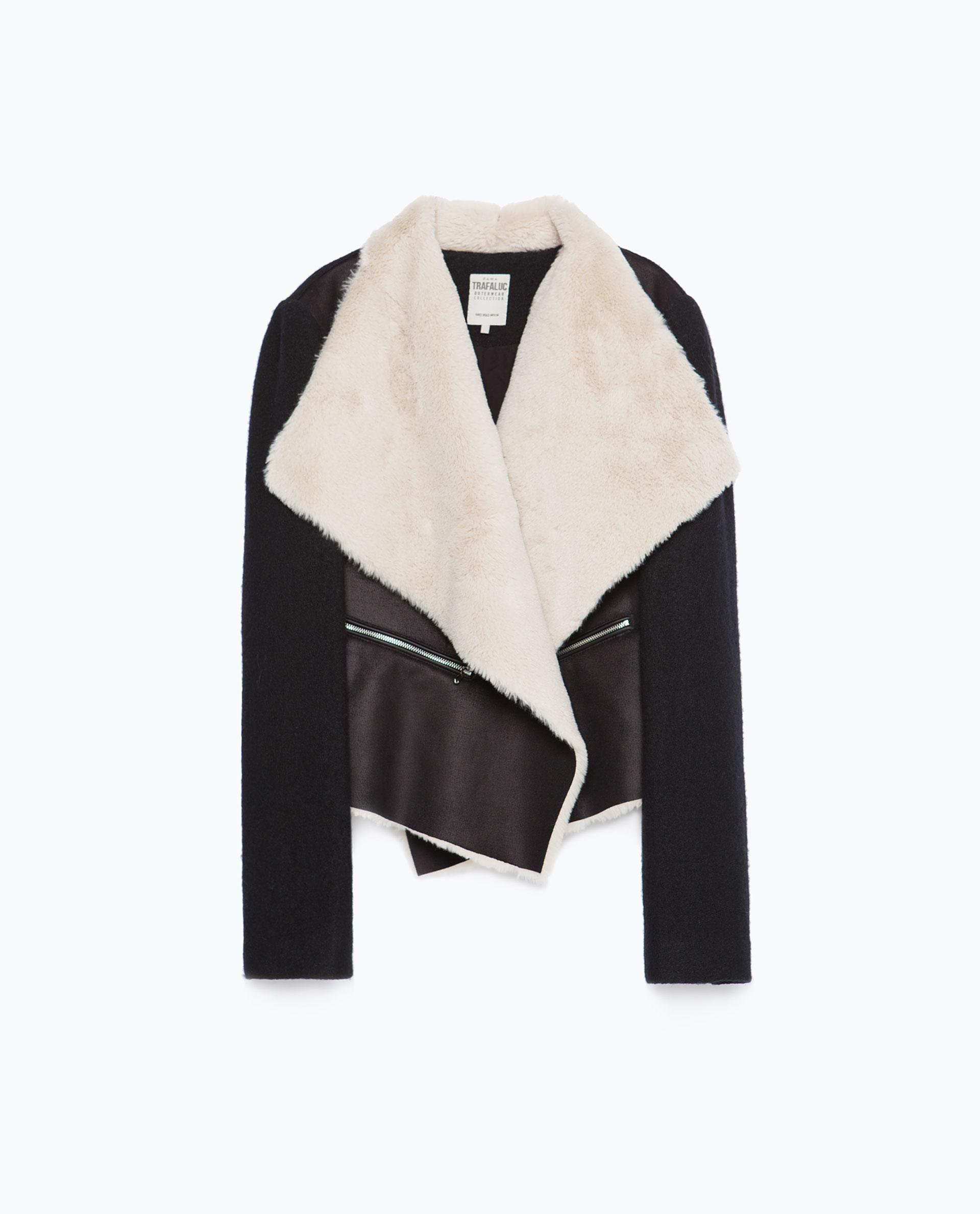 Zara Fleece Jacket in Black | Lyst
