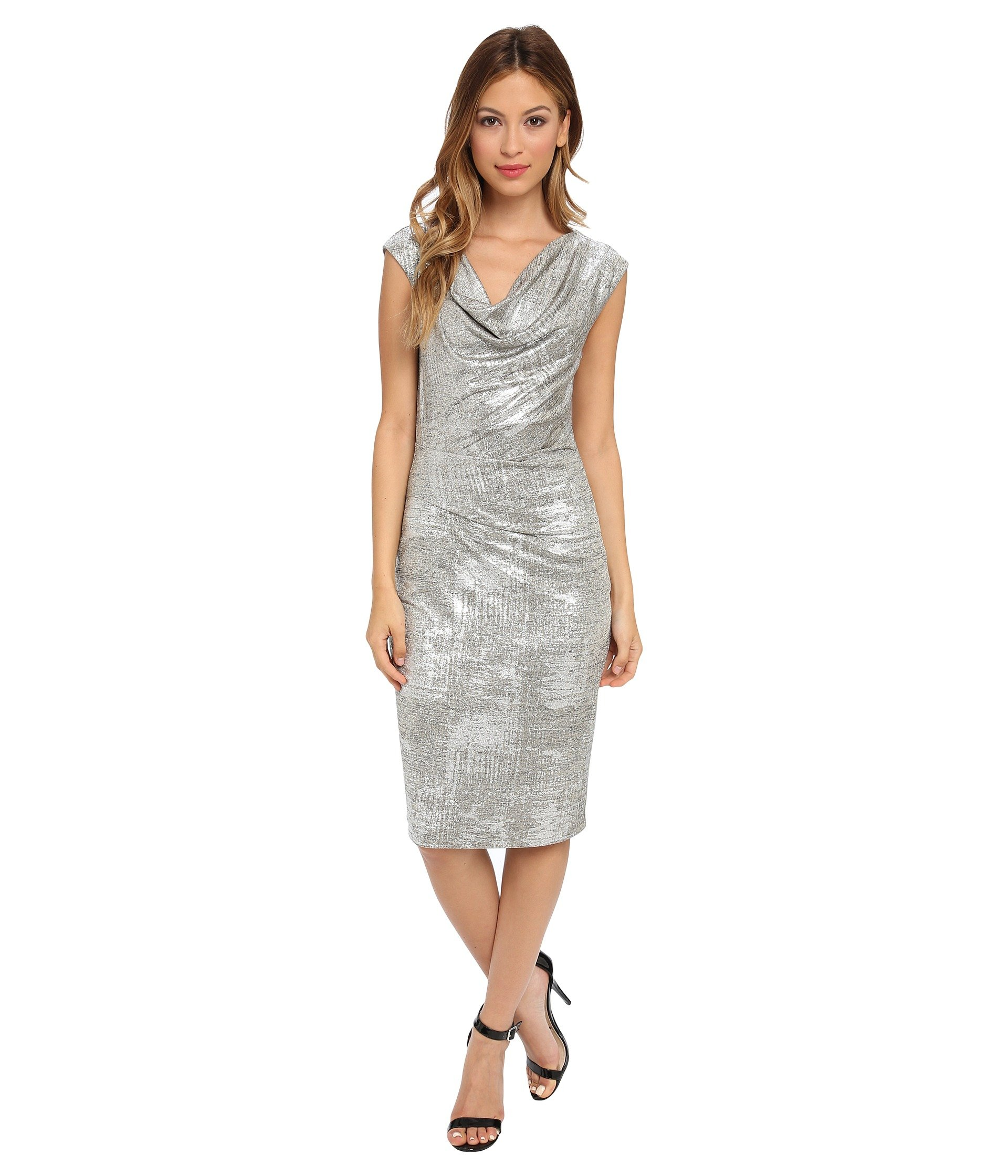 Lyst - Vince Camuto Onepiece Silver Metallic Cowl Neck Dress in Metallic 5481f7091373
