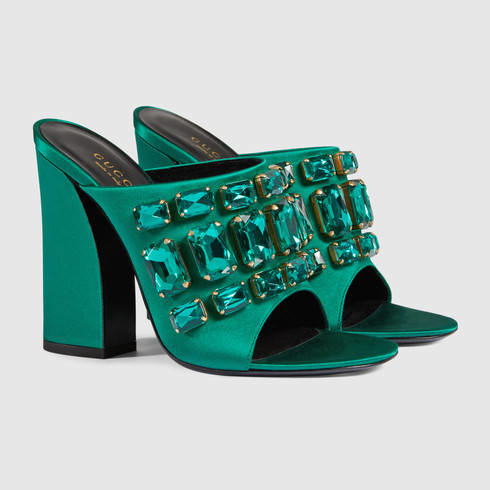 Gucci Satin Sandal With Crystals In Green Lyst