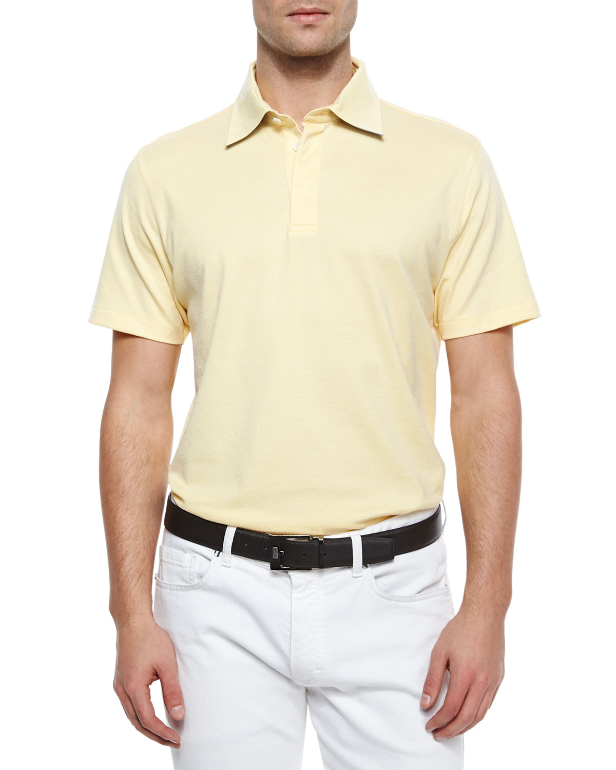 Ermenegildo zegna spread collar polo shirt in natural for for Men s spread collar shirts
