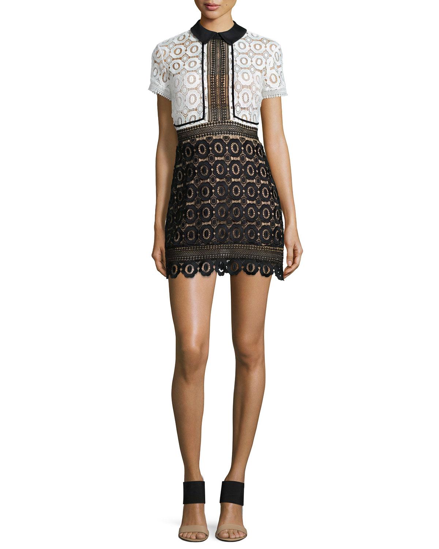 c6f668f4522f Self-Portrait Felicia Two-tone Guipure Lace Mini Dress in Black - Lyst