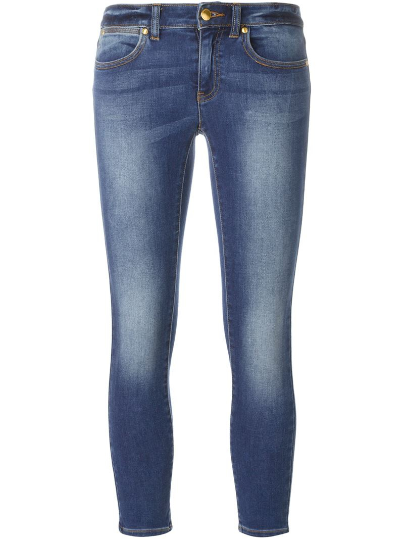 michael michael kors cropped skinny jeans in blue save 50 lyst. Black Bedroom Furniture Sets. Home Design Ideas