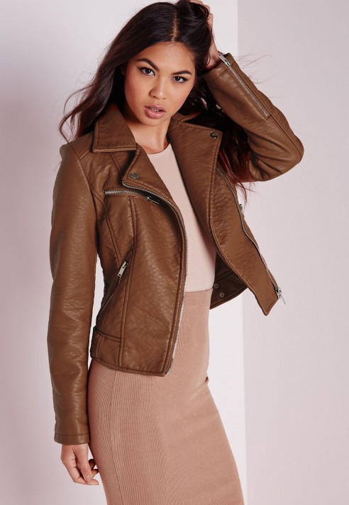 Missguided Faux Leather Biker Jacket Tan in Brown | Lyst