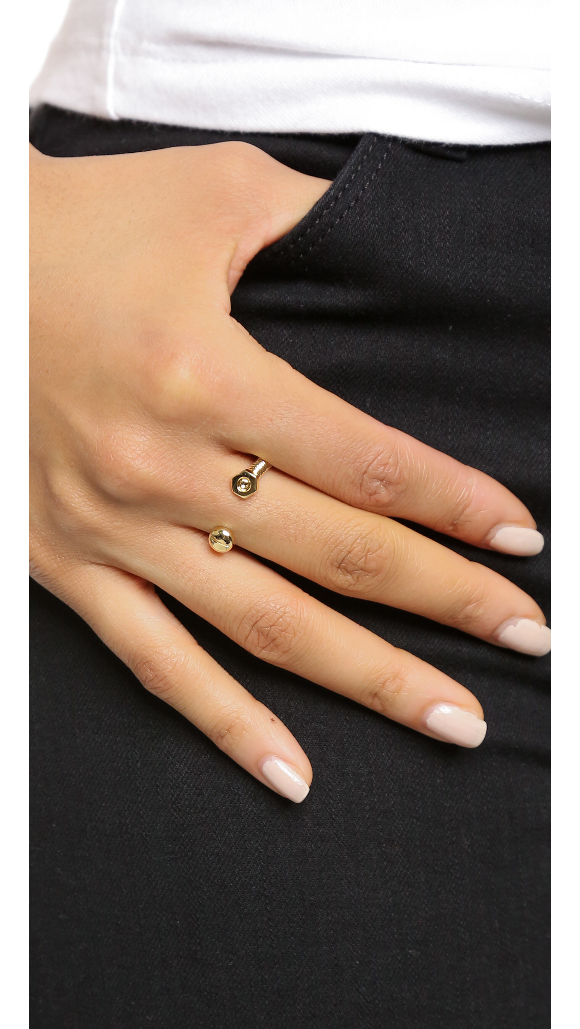 Lyst Giles Brother Open Nut Bolt Ring Gold In Metallic