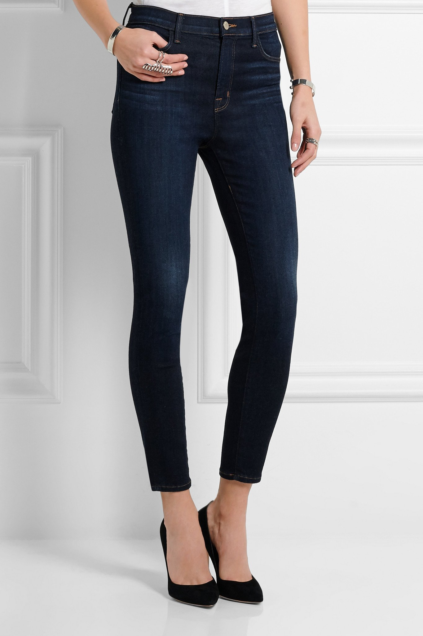 Lyst J Brand Alana Cropped High Rise Skinny Jeans In Blue
