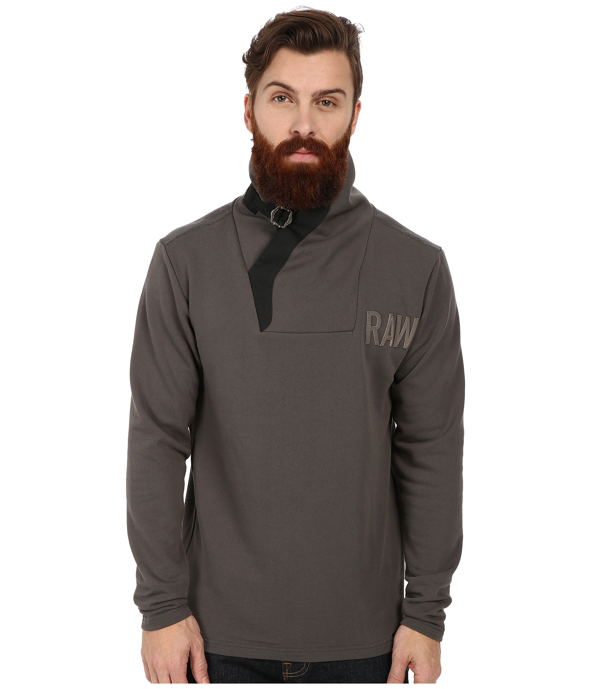 g star raw aero art buckle long sleeve sweater in gray for. Black Bedroom Furniture Sets. Home Design Ideas