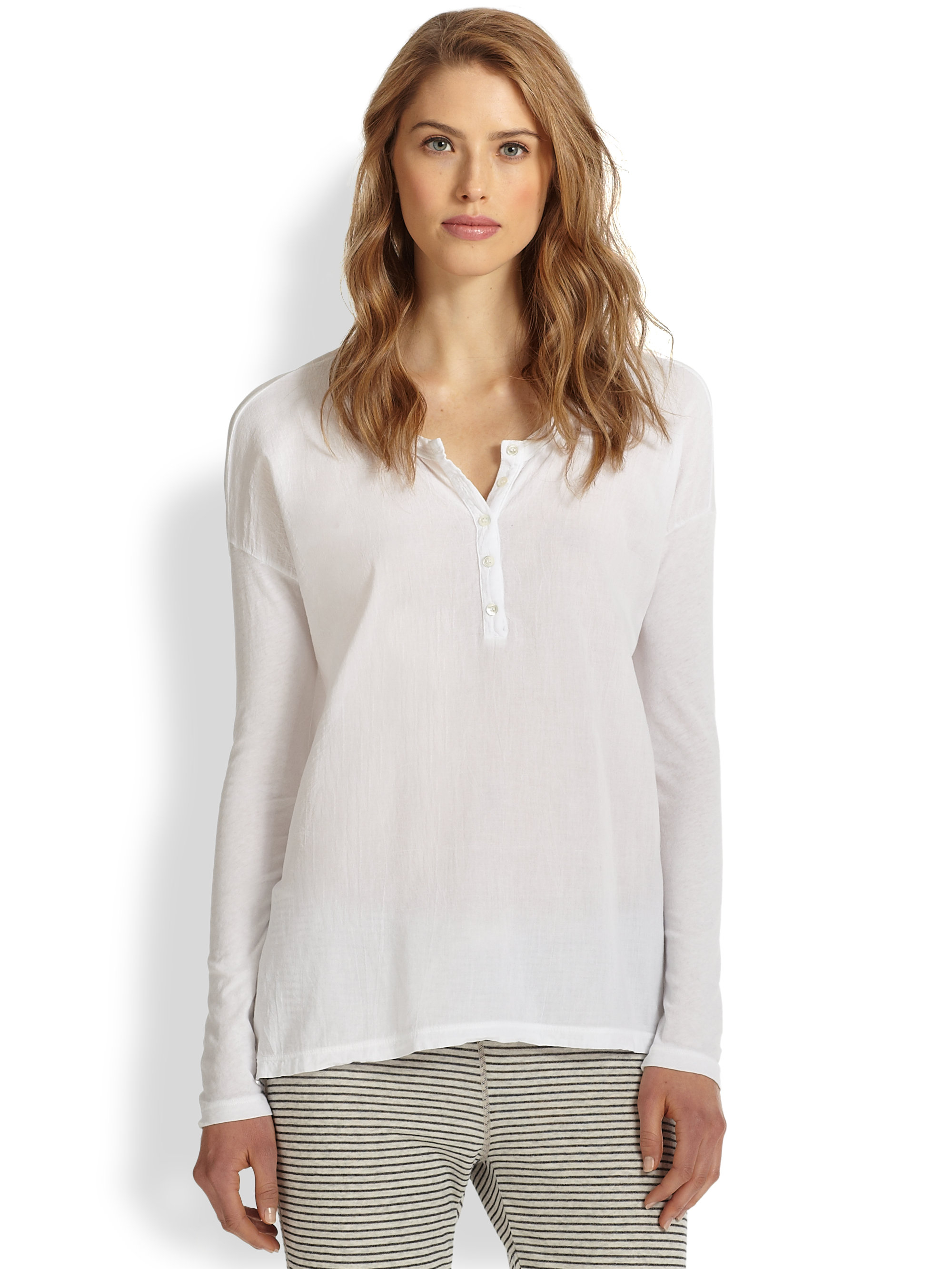 Lyst james perse boxyfit cotton jersey henley tee in white for James perse henley shirt