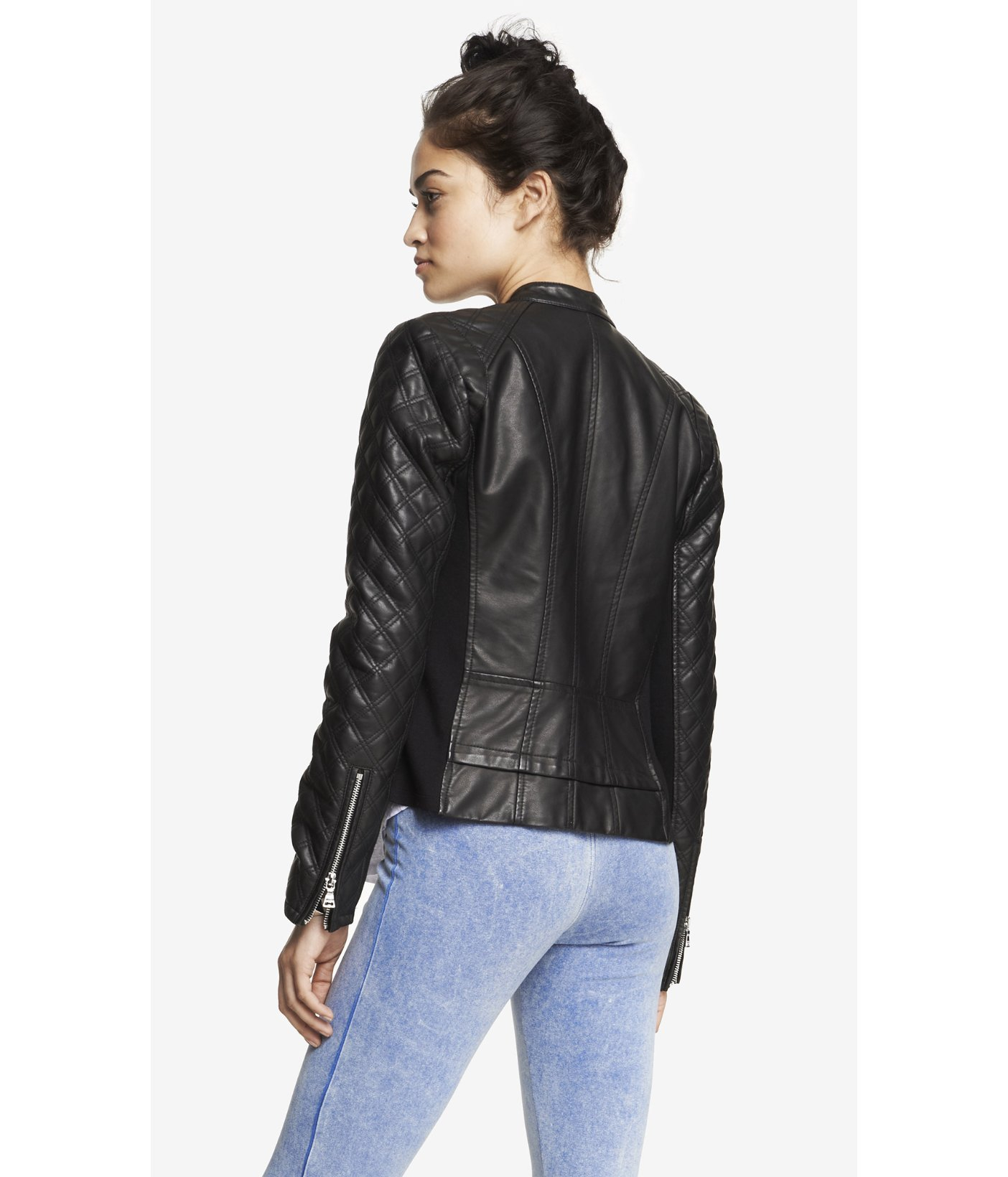 Lyst Express Quilted Sleeve Minus The Leather Jacket In Black