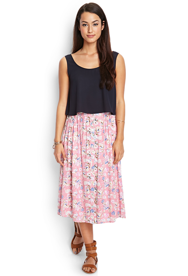 Forever 21 Buttoned Floral Midi Skirt in Pink | Lyst