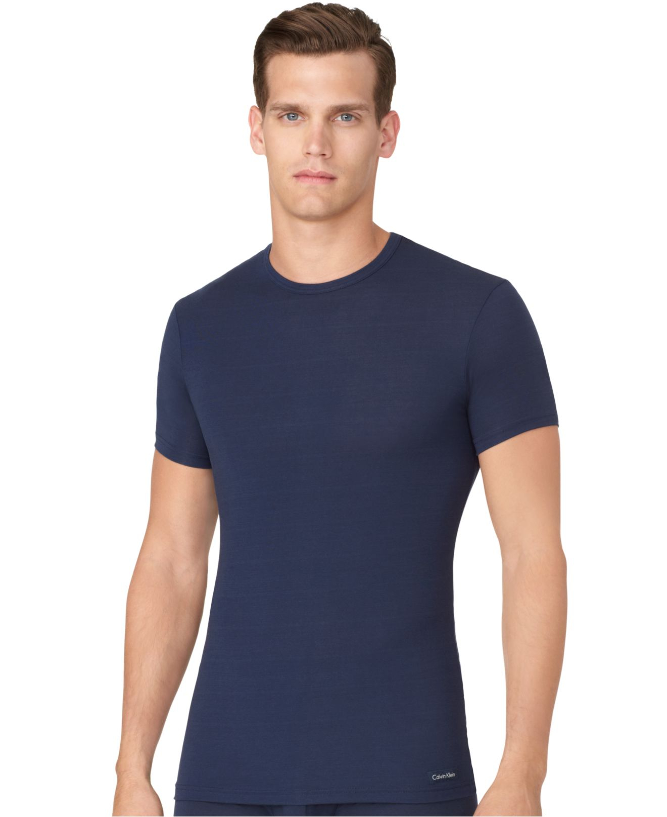 calvin klein men 39 s micro modal basic t shirt u5551 in blue