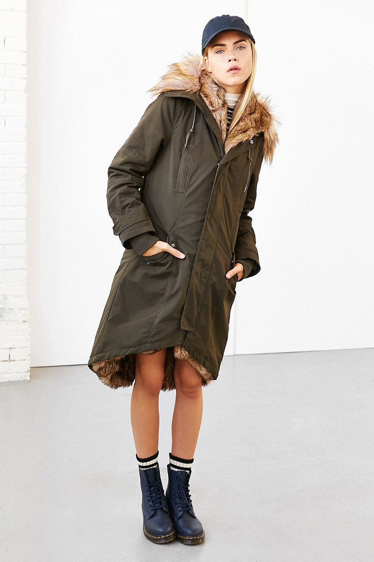 Members only Faux Fur-lined Hooded Parka in Green | Lyst
