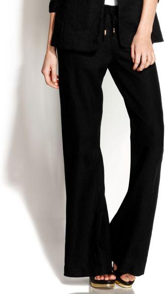 Michael Kors Michael Petite Drawstring Linen Wideleg Pants