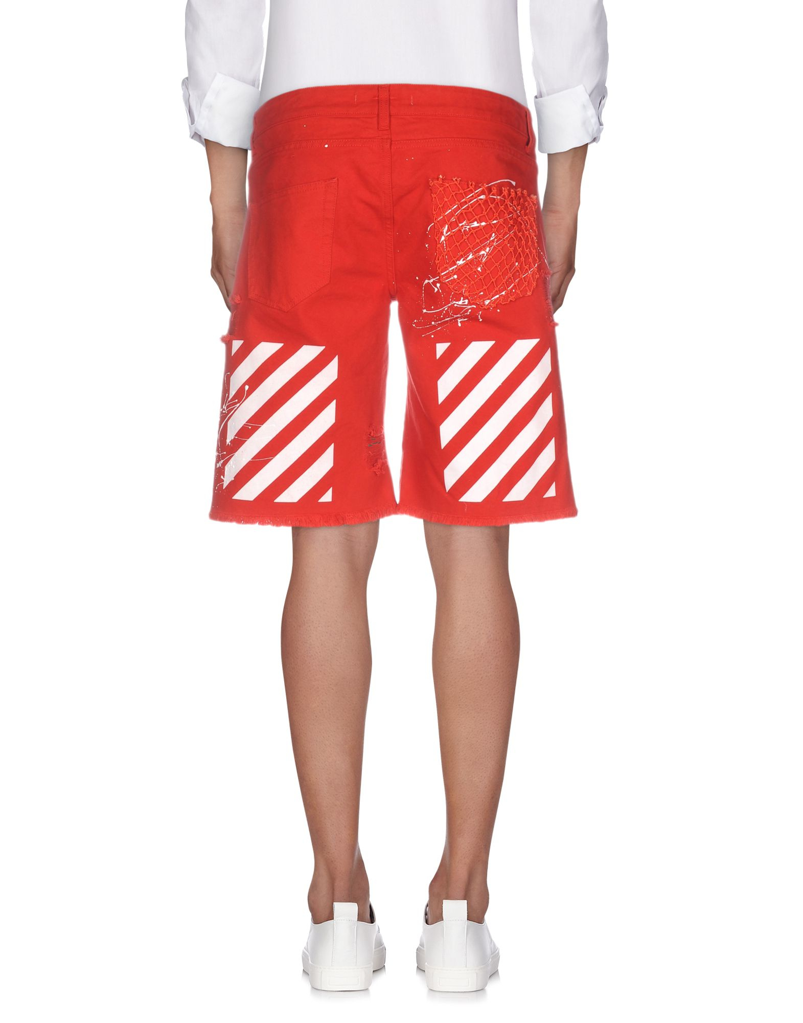 Off-white c/o virgil abloh Destroyed Cotton Bermuda Shorts in Red ...