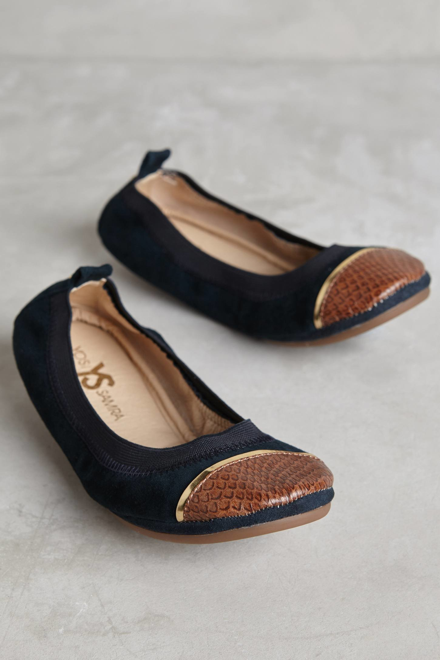 yosi samra sybil cap toe fold up flats in blue lyst