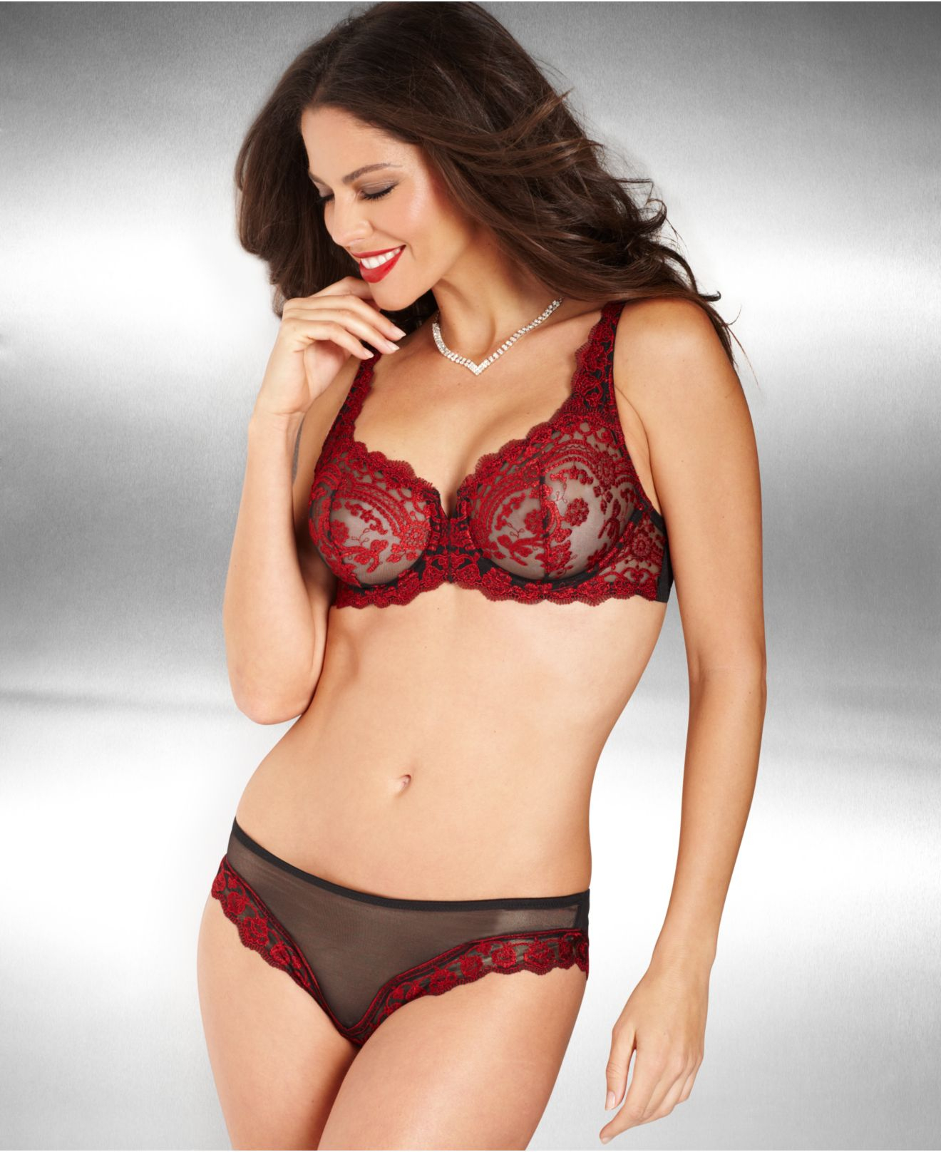 Lunaire Sevilla Embroidered Demi Bra 14011 in Red | Lyst