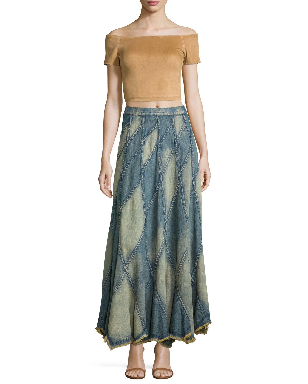 patchwork denim maxi skirt in blue
