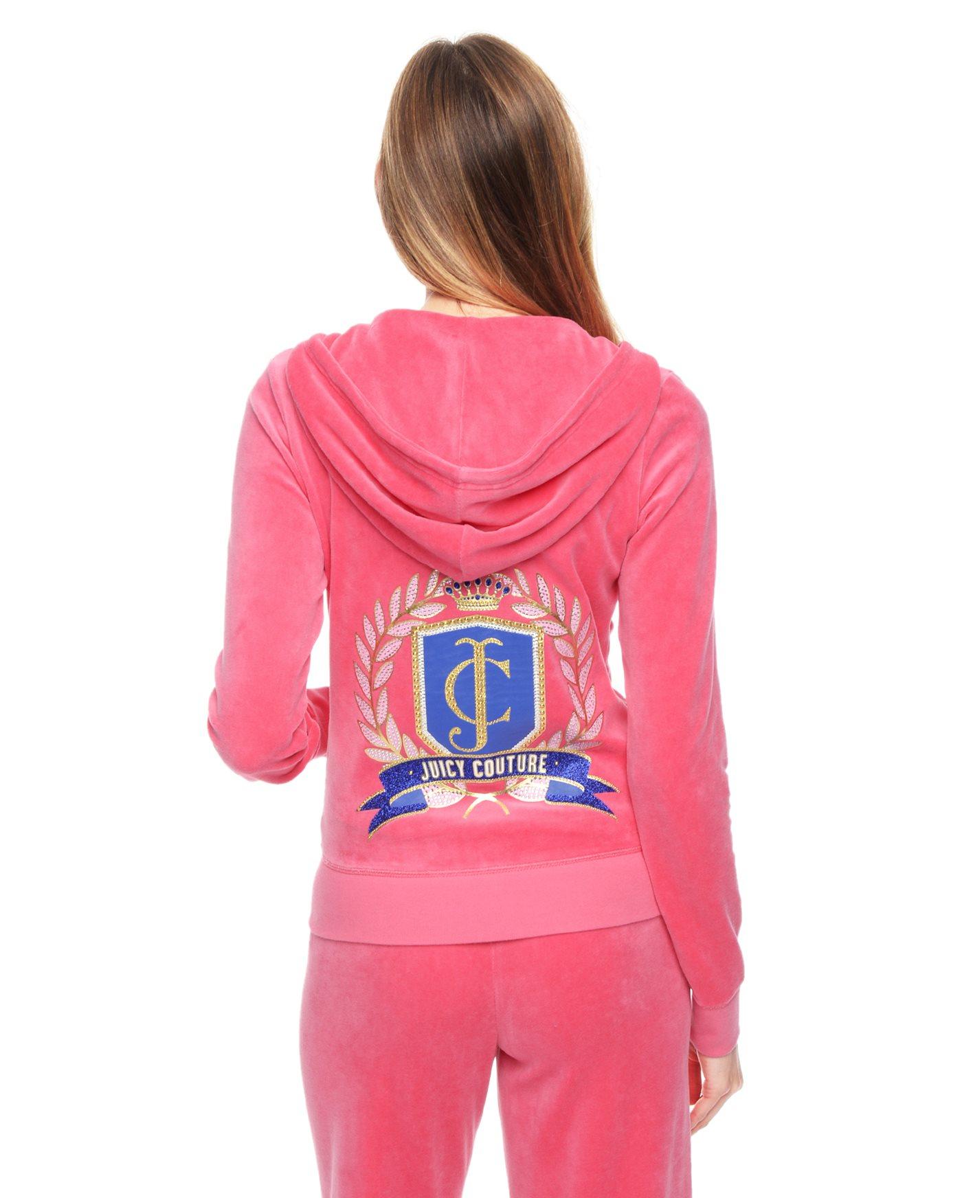 juicy couture logo velour juicy laurel crest original jacket in pink lyst. Black Bedroom Furniture Sets. Home Design Ideas