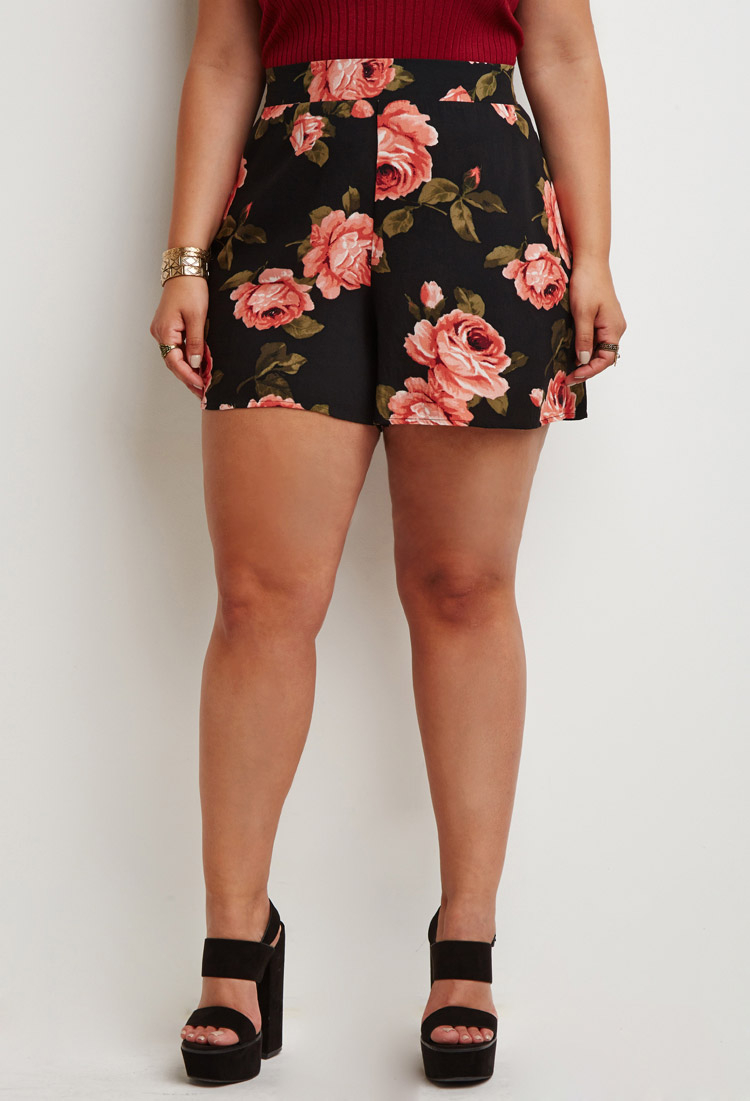 3a114921356 Lyst - Forever 21 Plus Size Rose Print Shorts You ve Been Added To ...