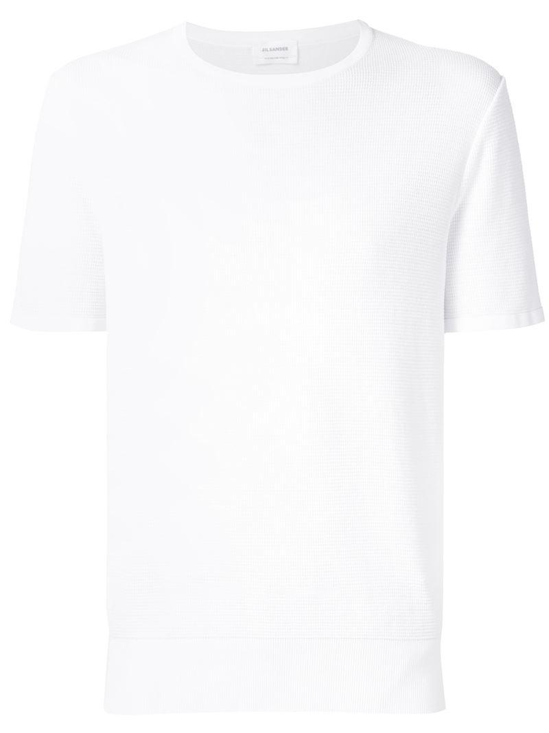 Jil sander 39 smooth 39 crew neck t shirt in white for men lyst for Jil sander mens shirt