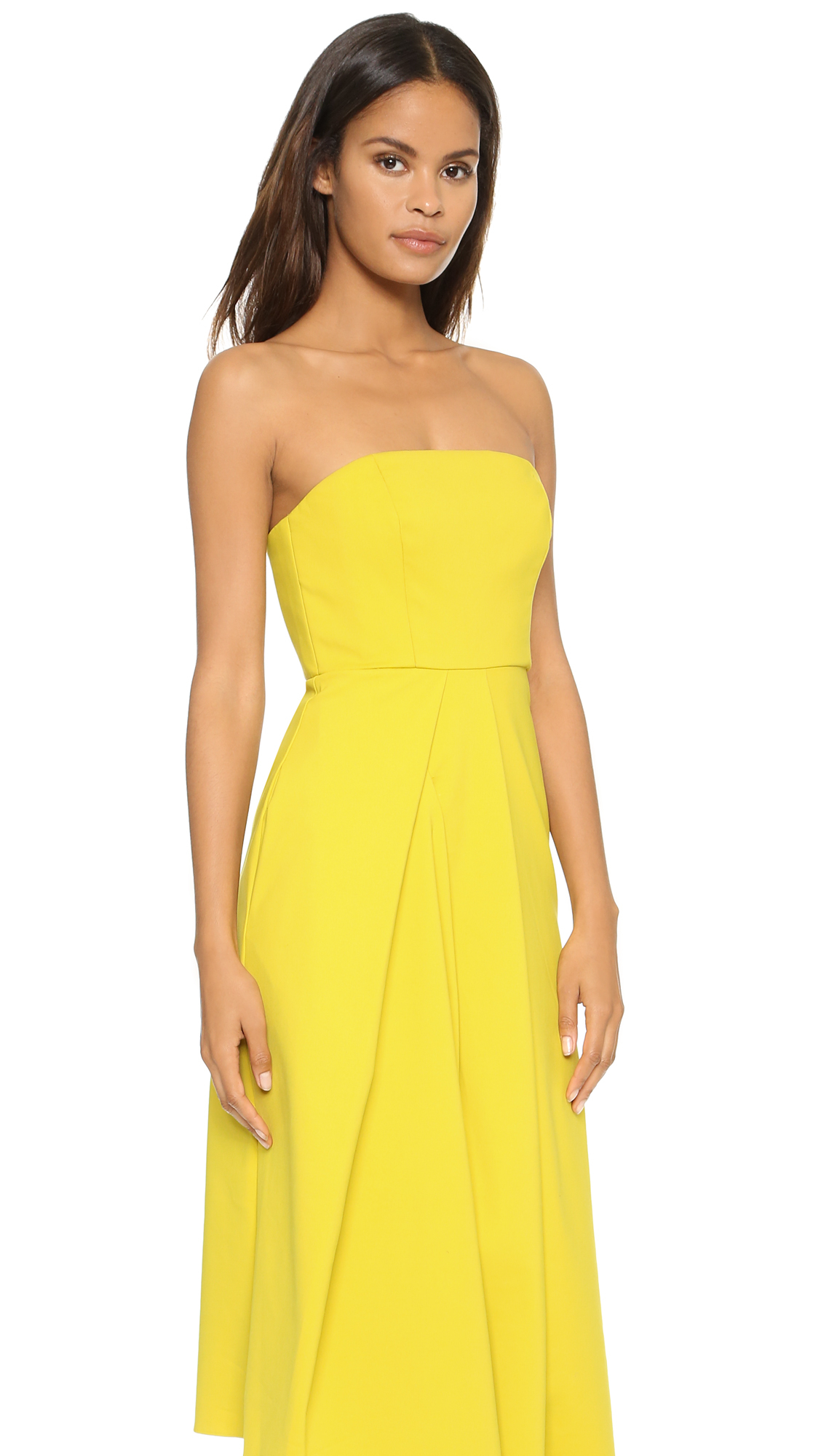 Tibi Asymmetric Drape Strapless Dress - Mustard