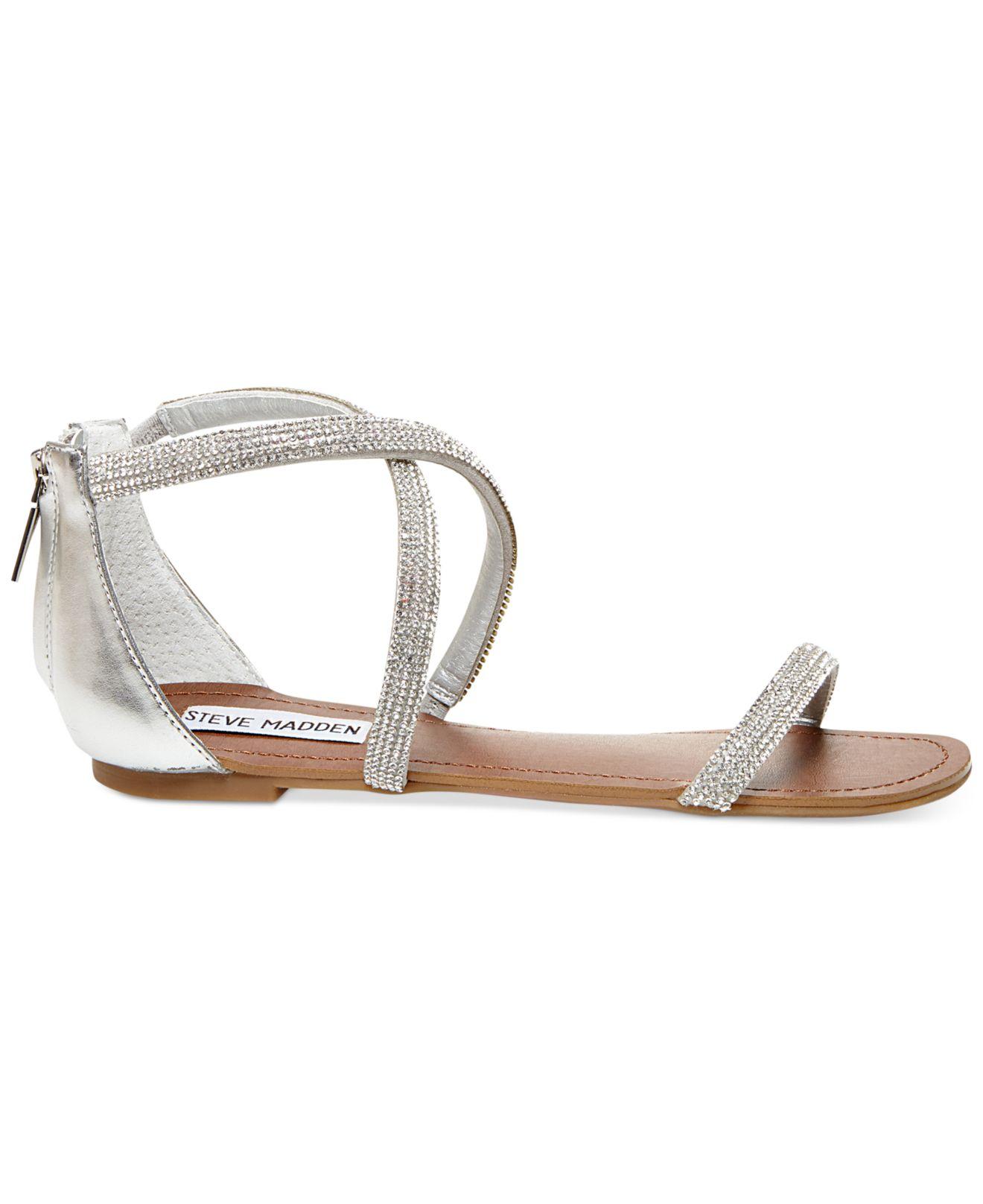 0d0184ec7 Lyst - Steve Madden Zsaza Bling Flat Sandals in Metallic