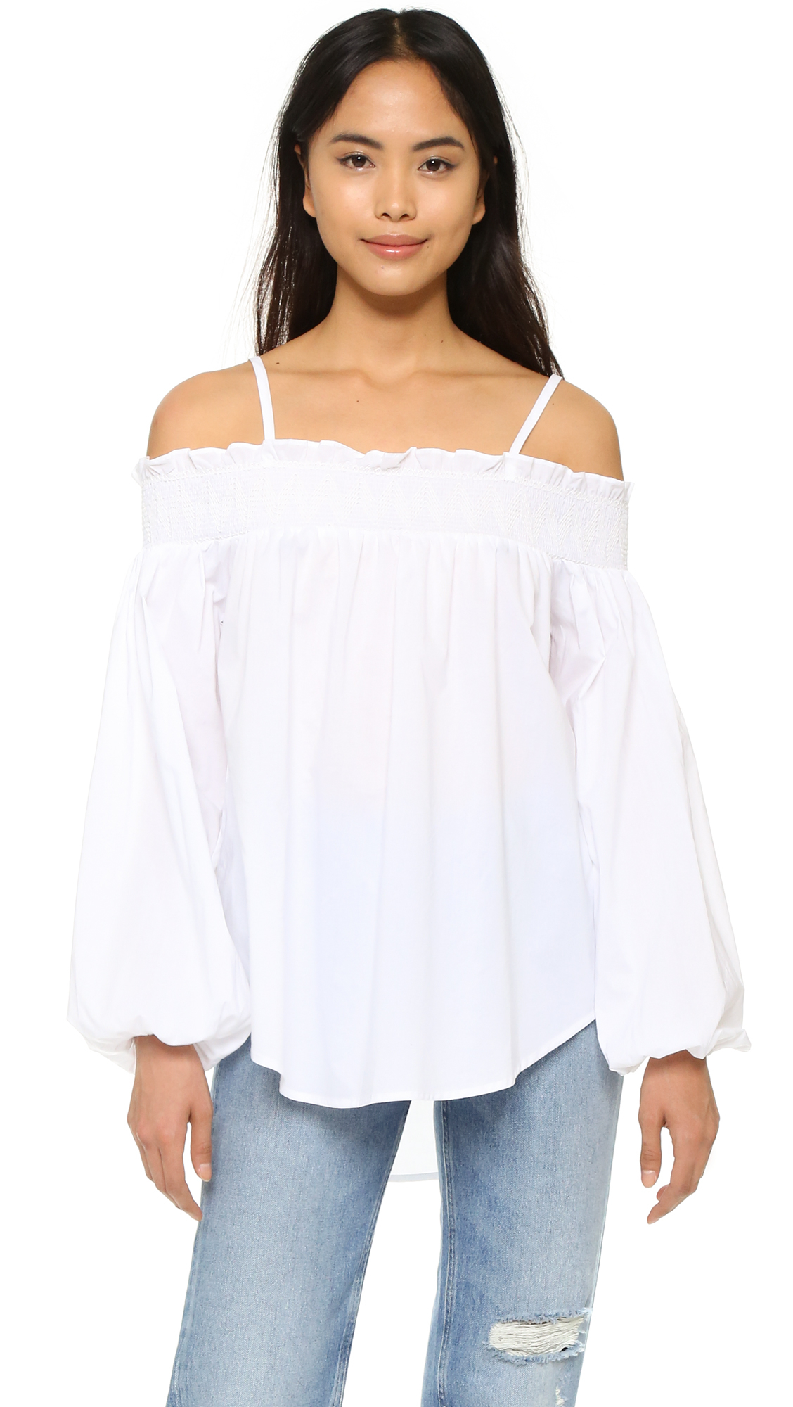 english factory off shoulder blouse in white lyst. Black Bedroom Furniture Sets. Home Design Ideas