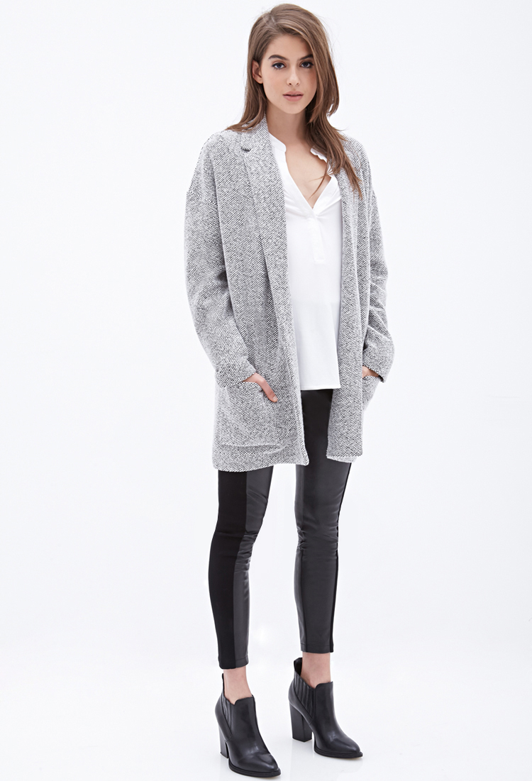 forever 21 oversized two tone blazer in gray lyst. Black Bedroom Furniture Sets. Home Design Ideas
