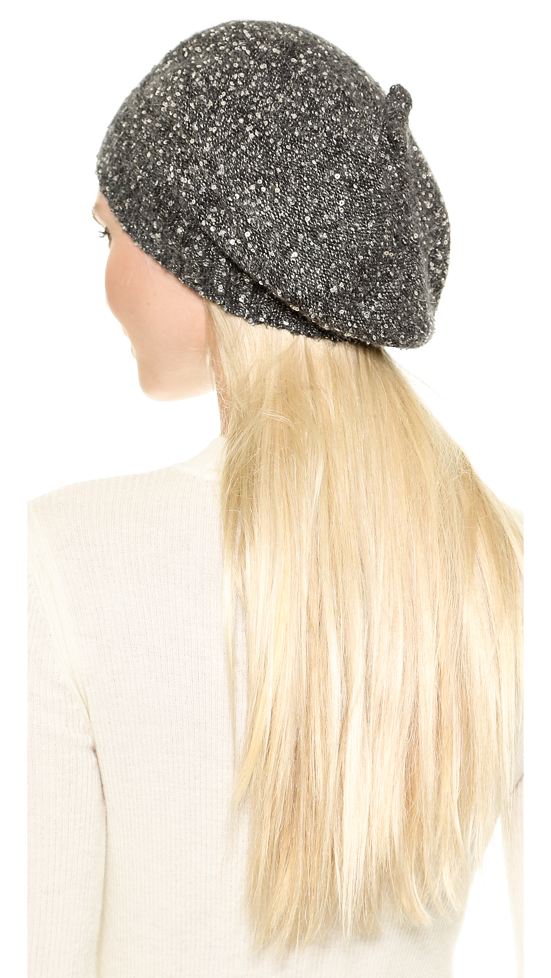 9ace2b78133b8 Lyst - Kate Spade Cosmic Glow Allover Sequin Beret - Black in Gray