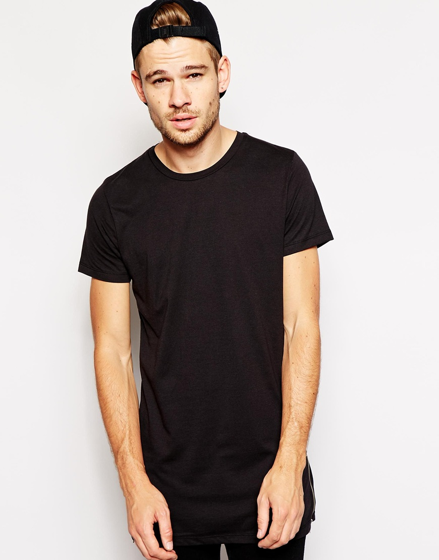 Selected t shirt in longline with zips in black for men lyst for Long length long sleeve t shirts