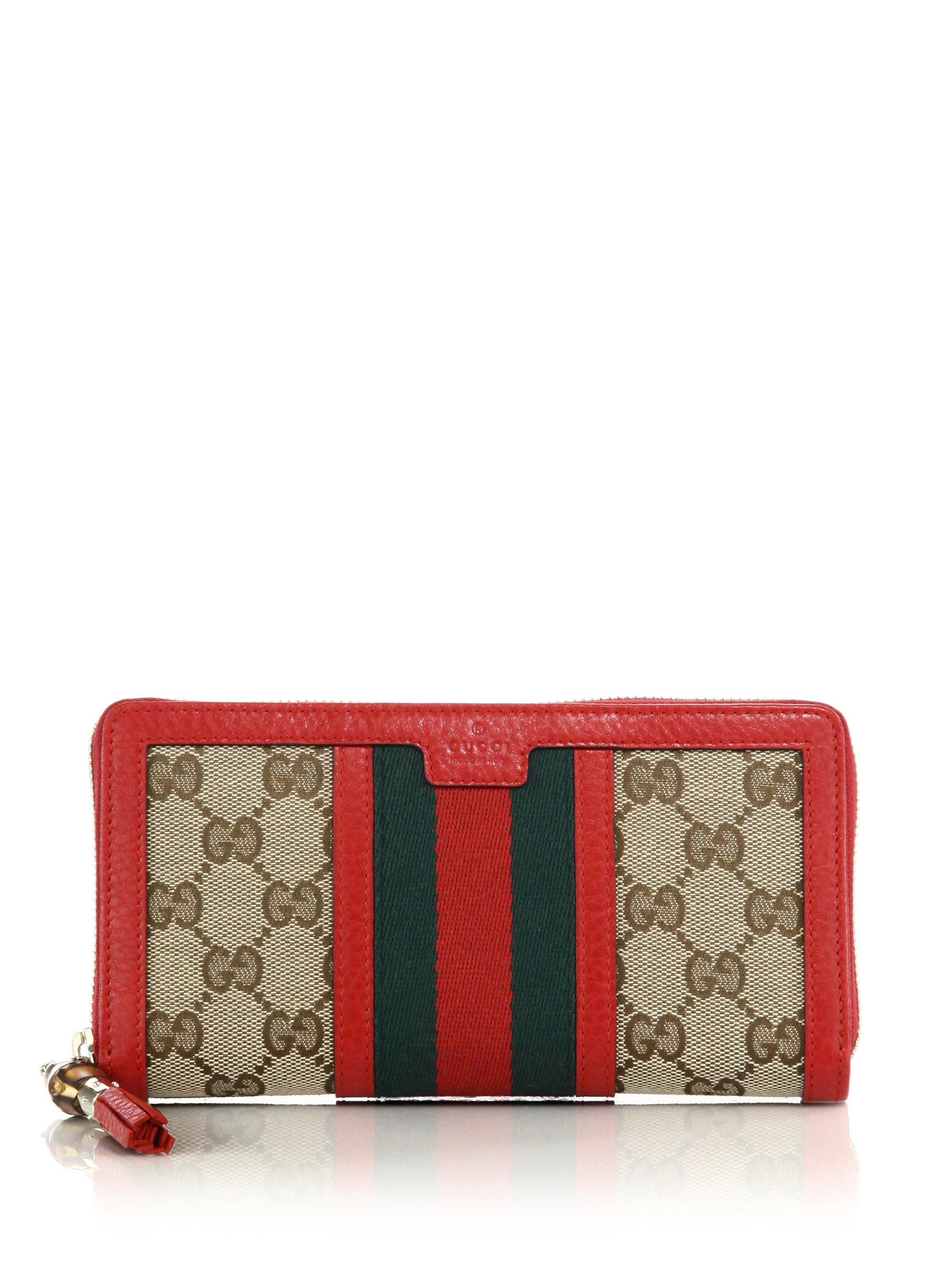 122f205280cd Gucci Rania Original Gg Canvas Zip-around Wallet in Red - Lyst