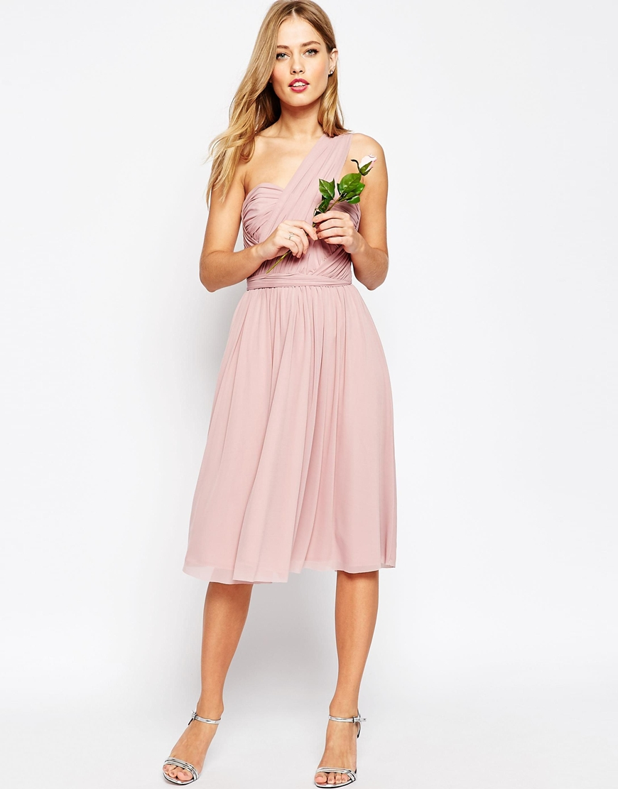 Asos Wedding Multiway Mesh Midi Dress in Pink | Lyst