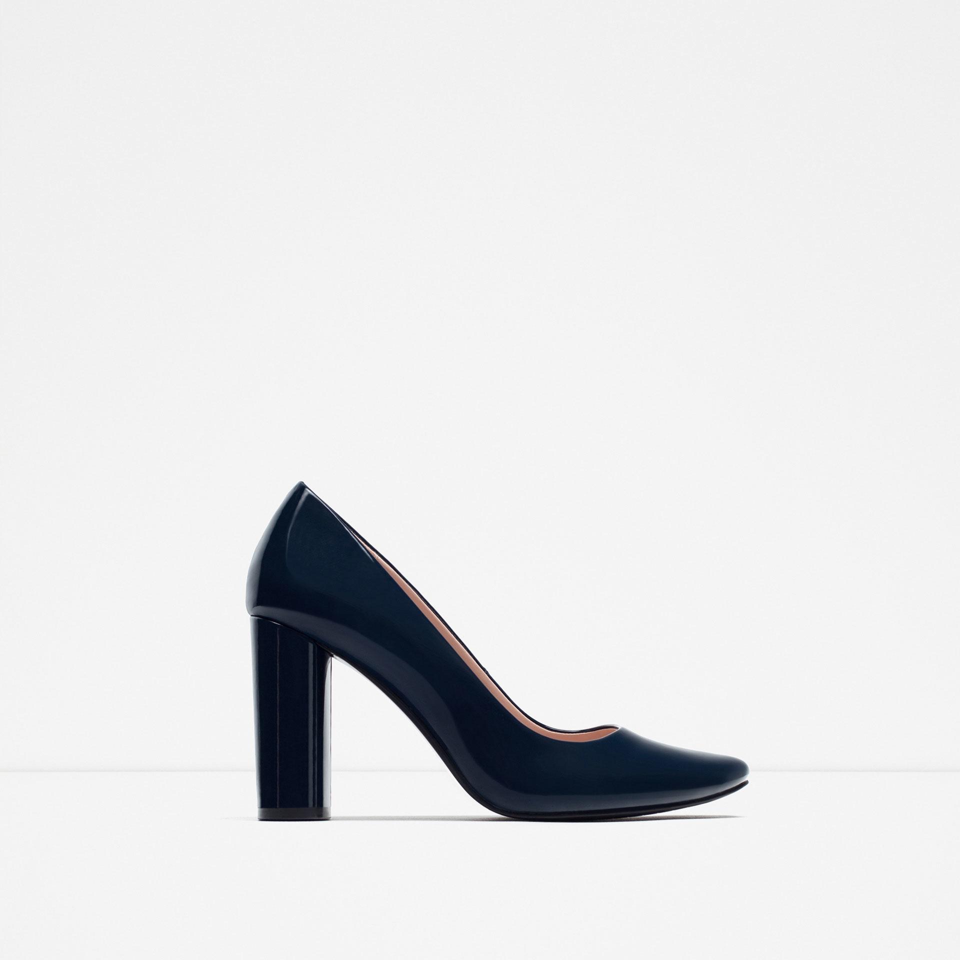 Navy Blue Patent Heels