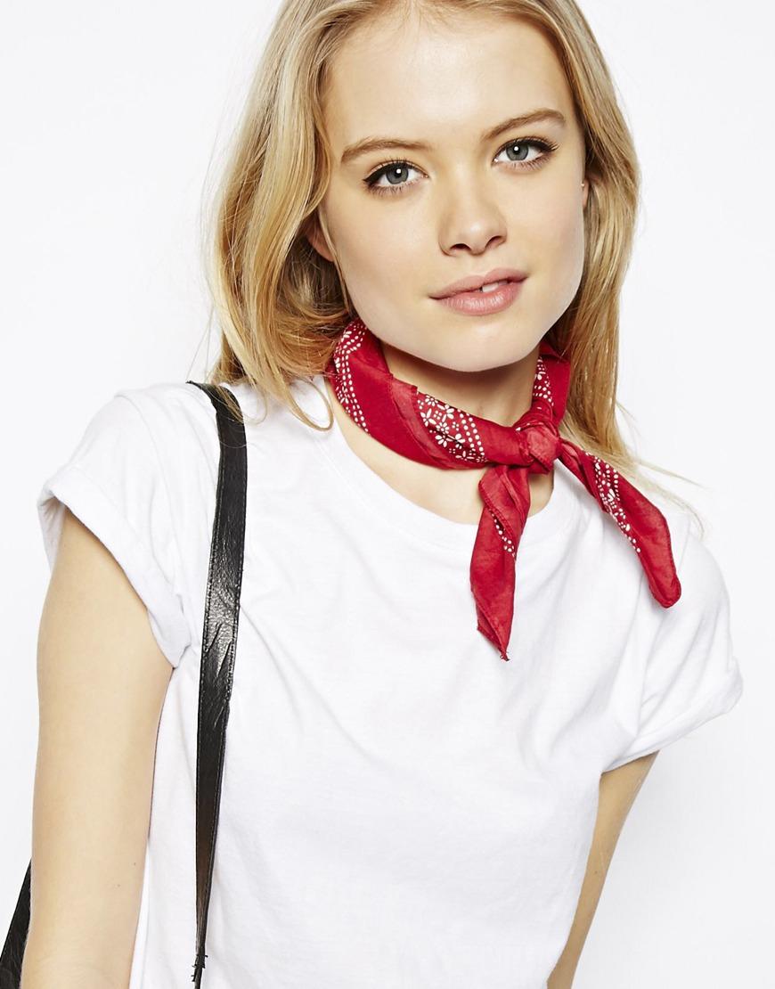 Asos Polka Dot Headscarf Neckerchief in Red | Lyst