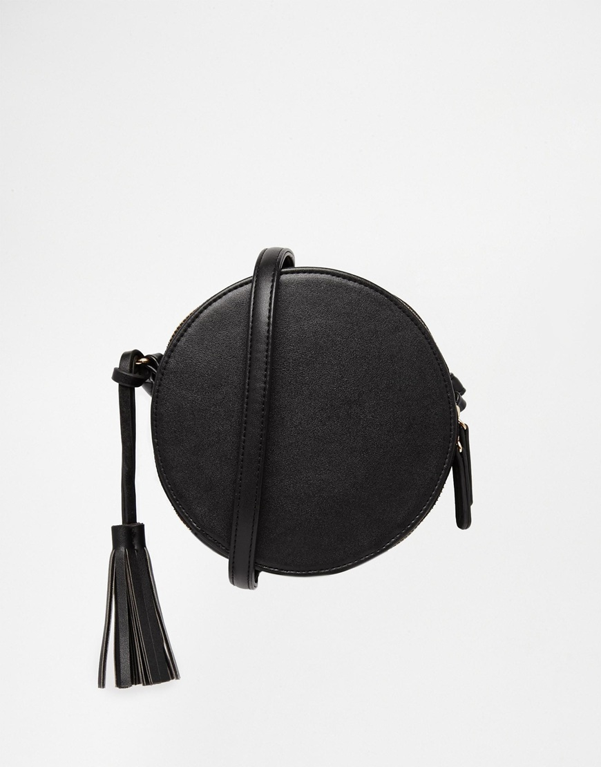 Asos Round Shoulder Bag With Tassel In Black Lyst