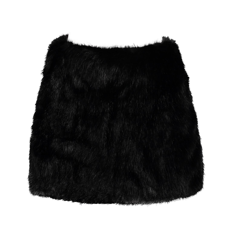 by sun black faux fur mini skirt in black lyst