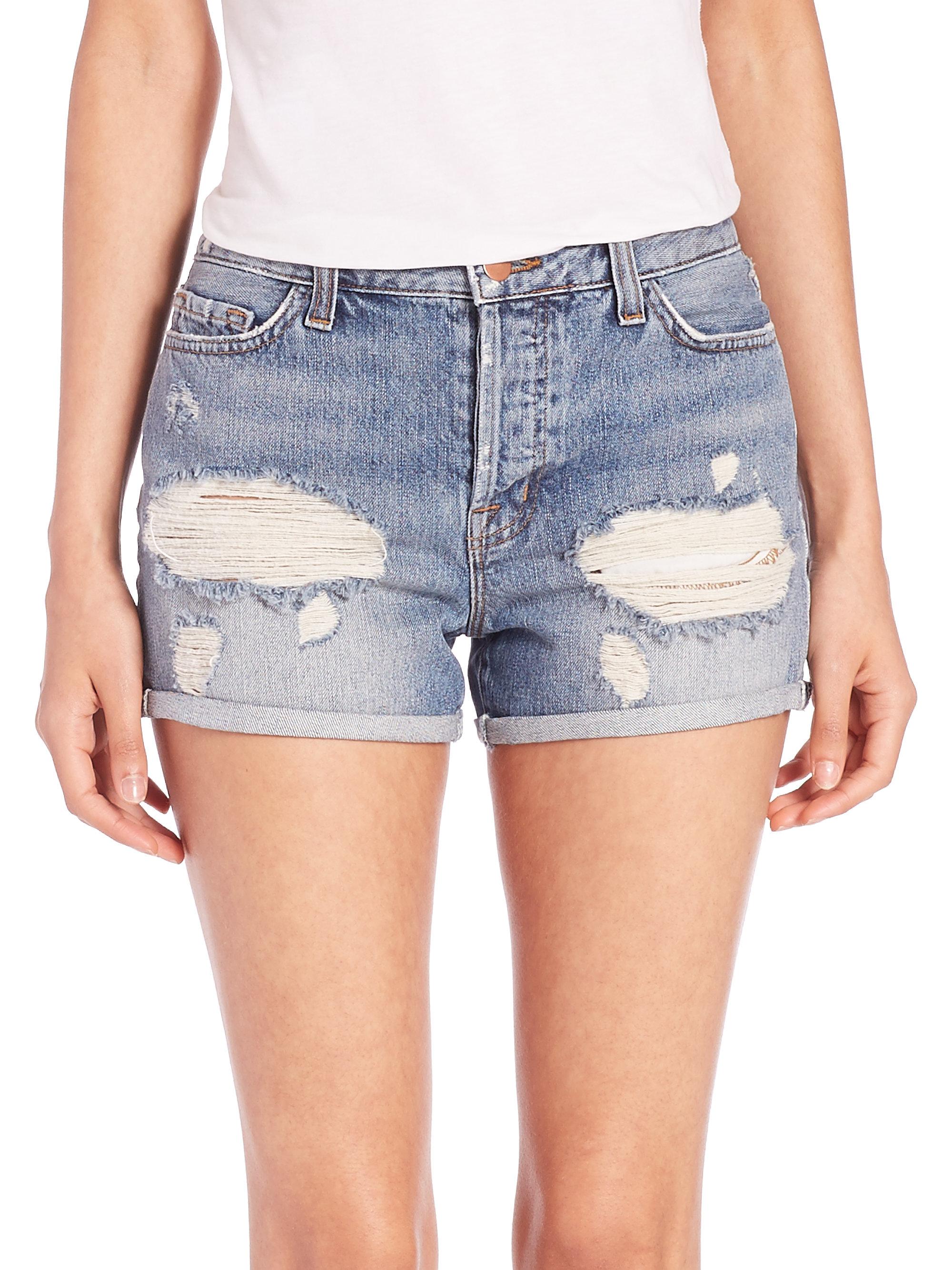 J brand Gracie Distressed High-rise Cuffed Denim Shorts in Blue | Lyst