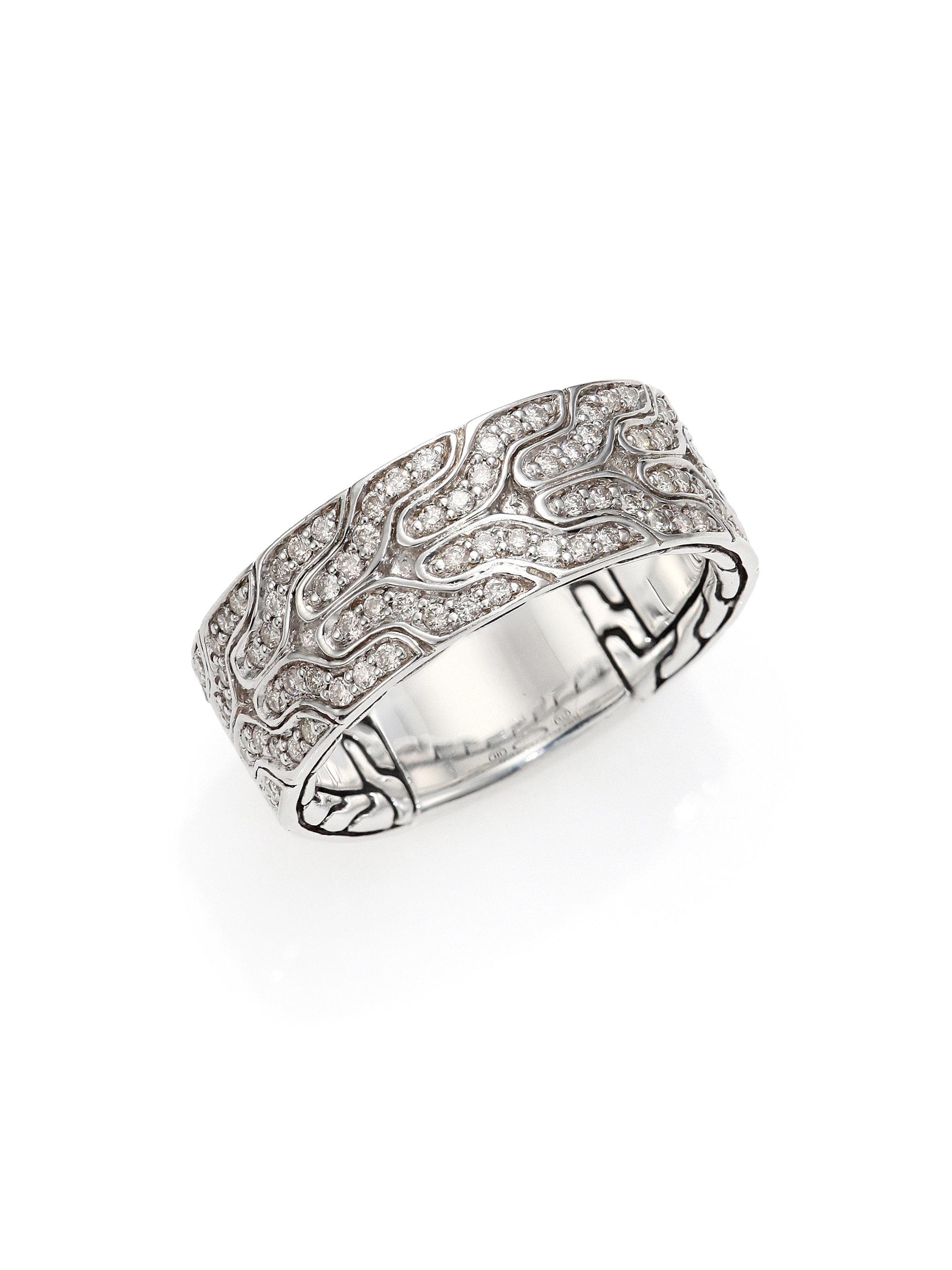 john hardy silver diamond ring in metallic for men lyst