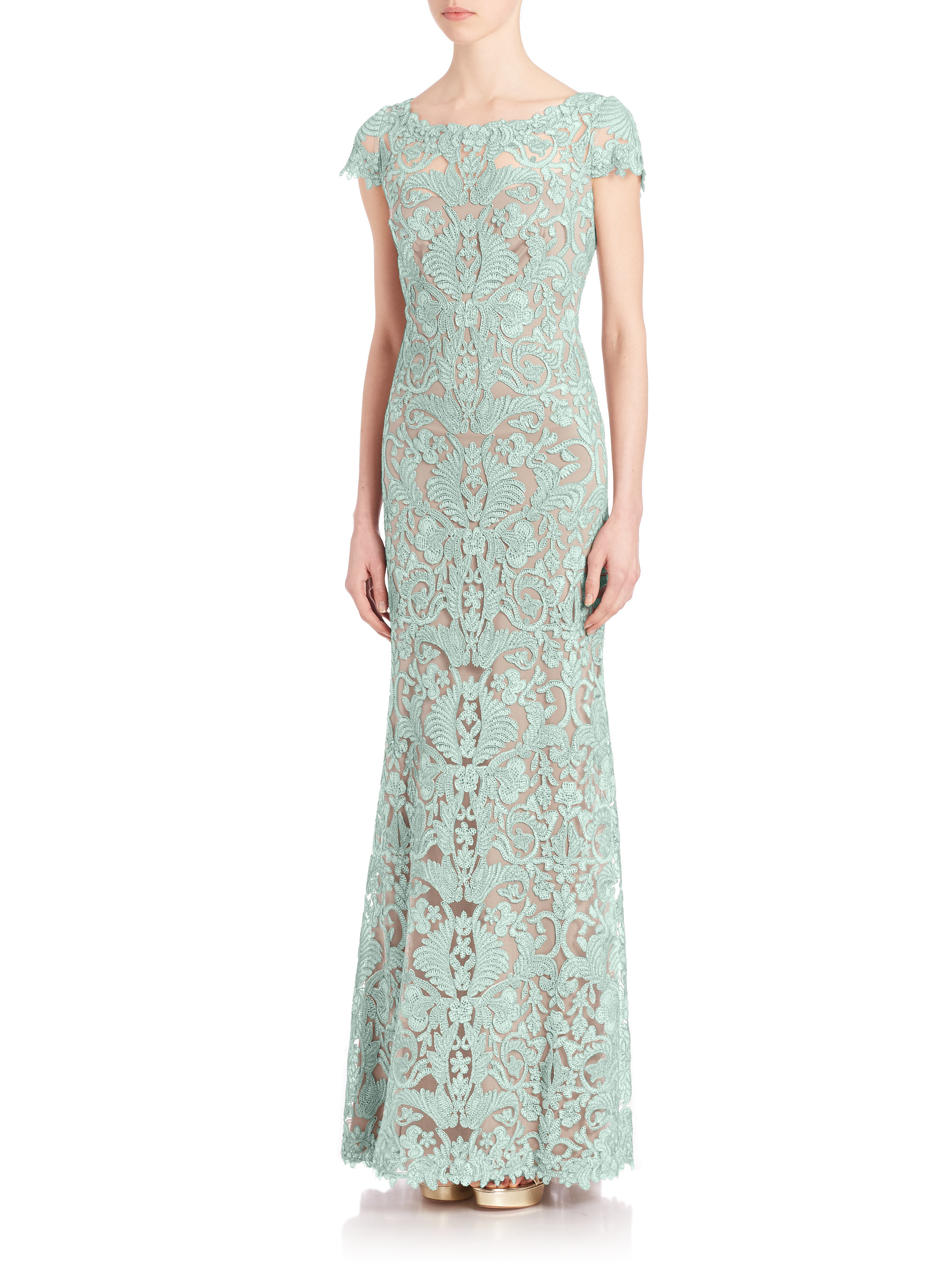 f39fd3699e03 Tadashi Shoji Embroidered Boat-Neck Lace Gown in Green - Lyst