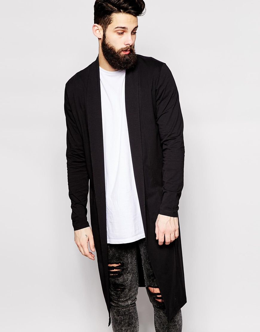 Asos Extreme Longline Shawl Cardigan In Jersey in Black for Men | Lyst