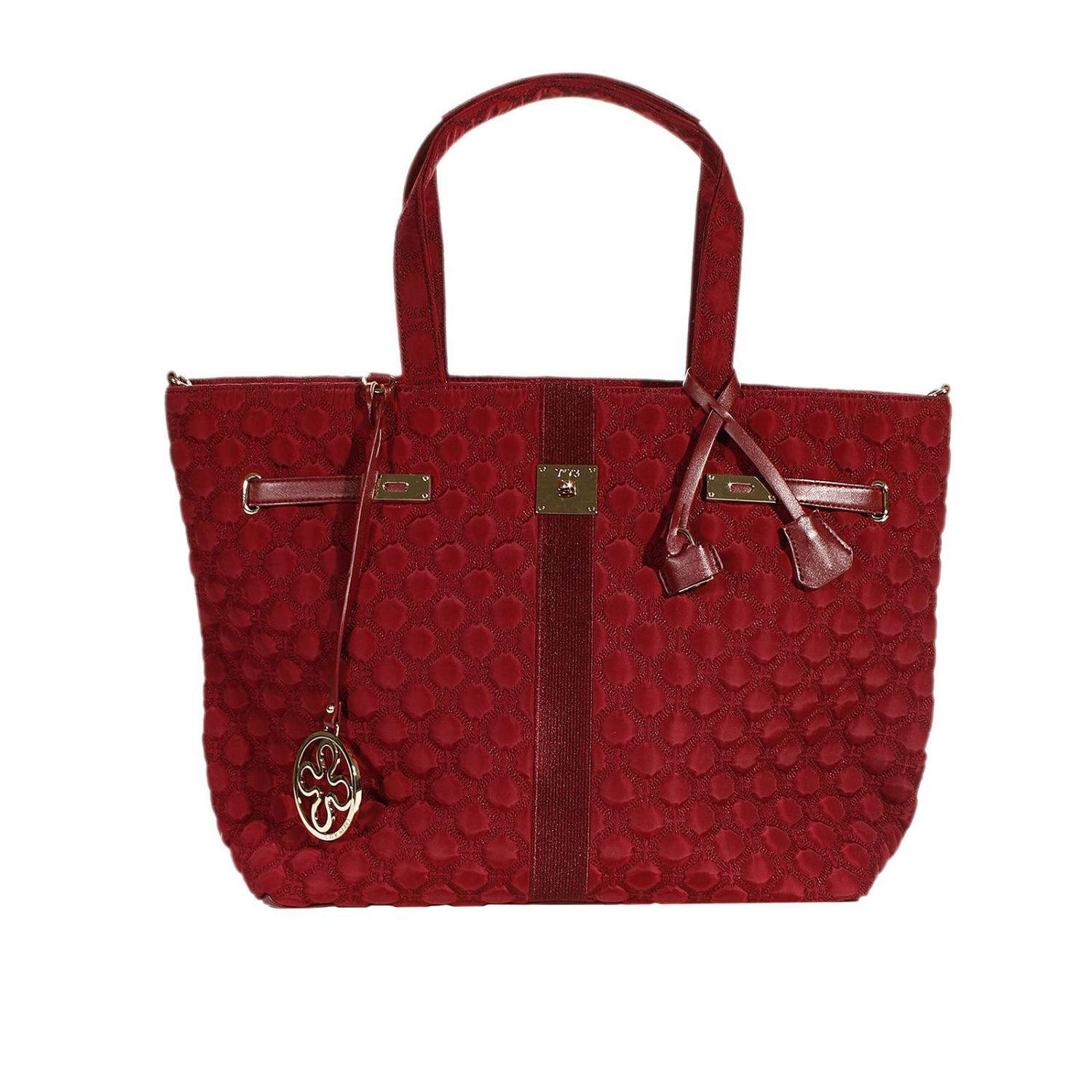 v73 handbag quilted nylon bag shopping in red burgundy lyst. Black Bedroom Furniture Sets. Home Design Ideas