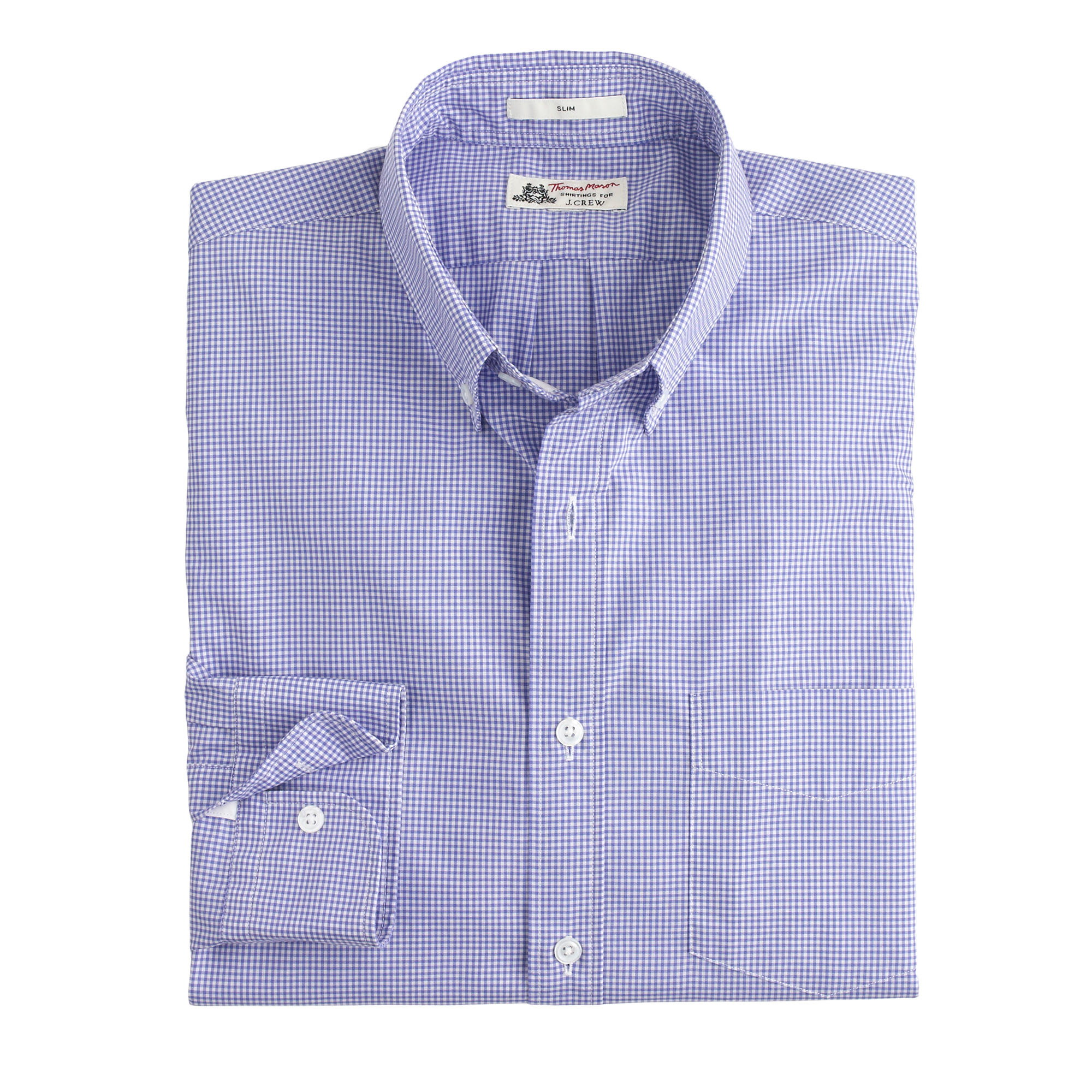 slim thomas mason shirt in baltic mini gingham in