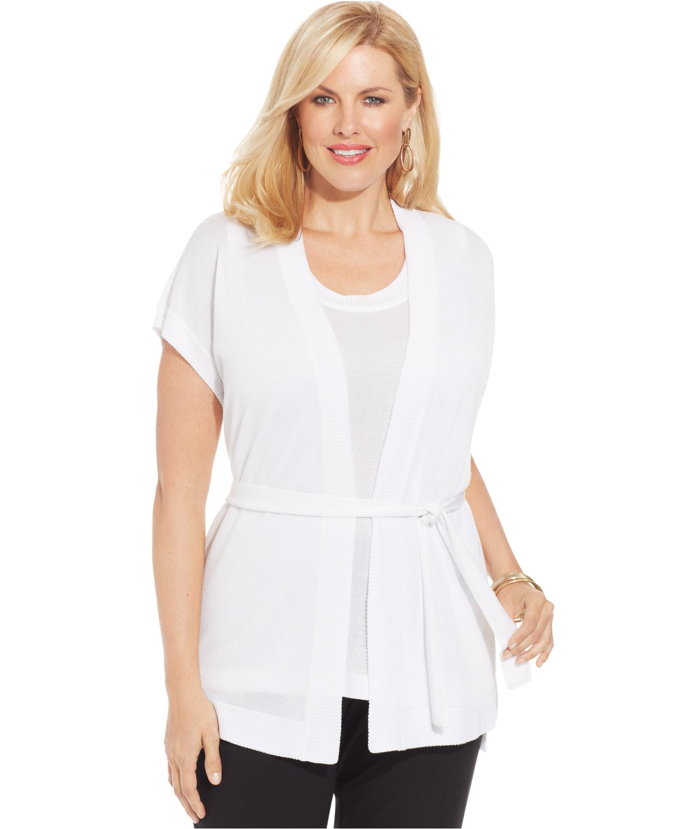 Jones new york Collection Plus Size Short-Sleeve Belted Cardigan ...