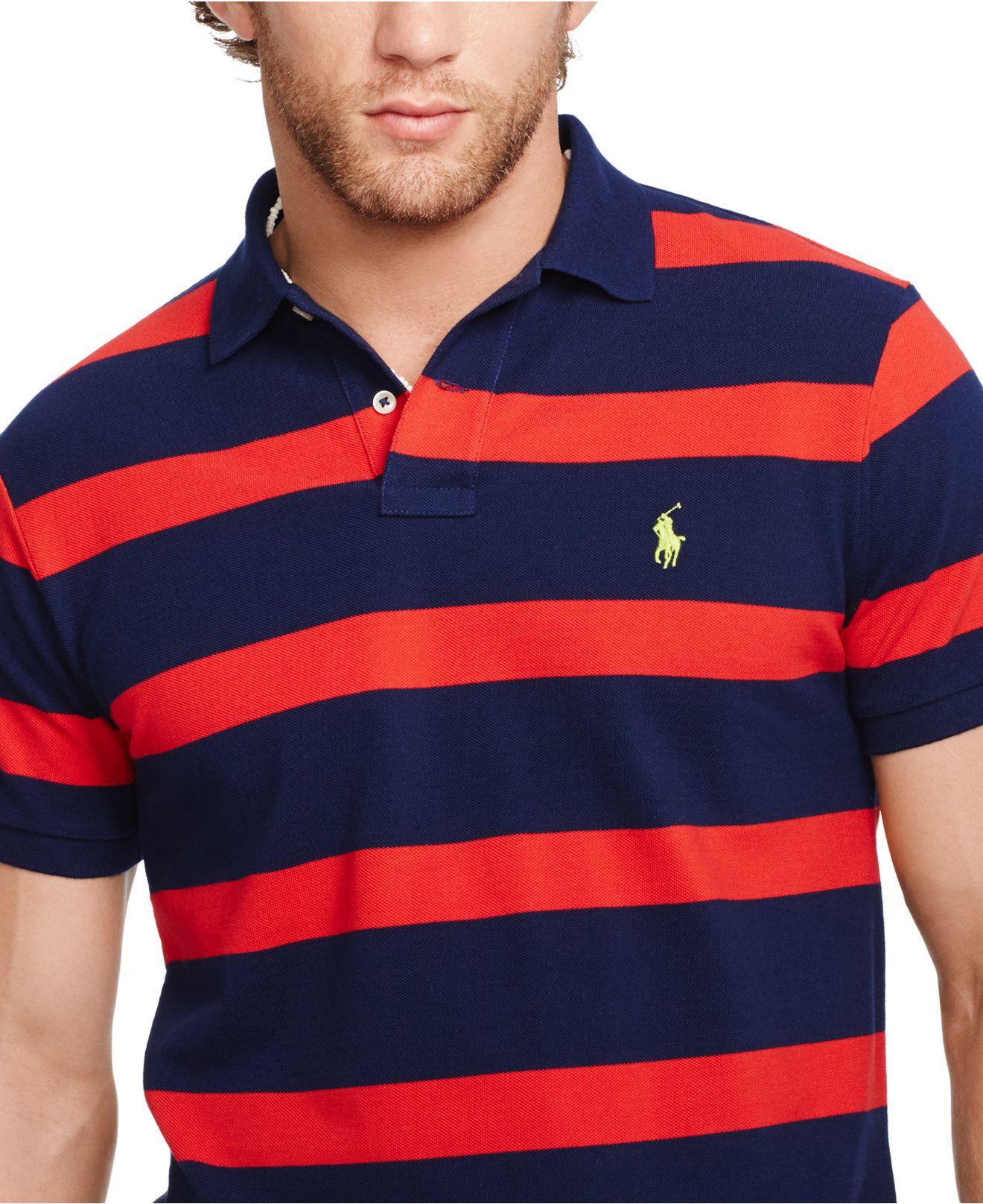 93dd9818f Polo Ralph Lauren Custom-fit Striped Mesh Polo in Blue for Men - Lyst