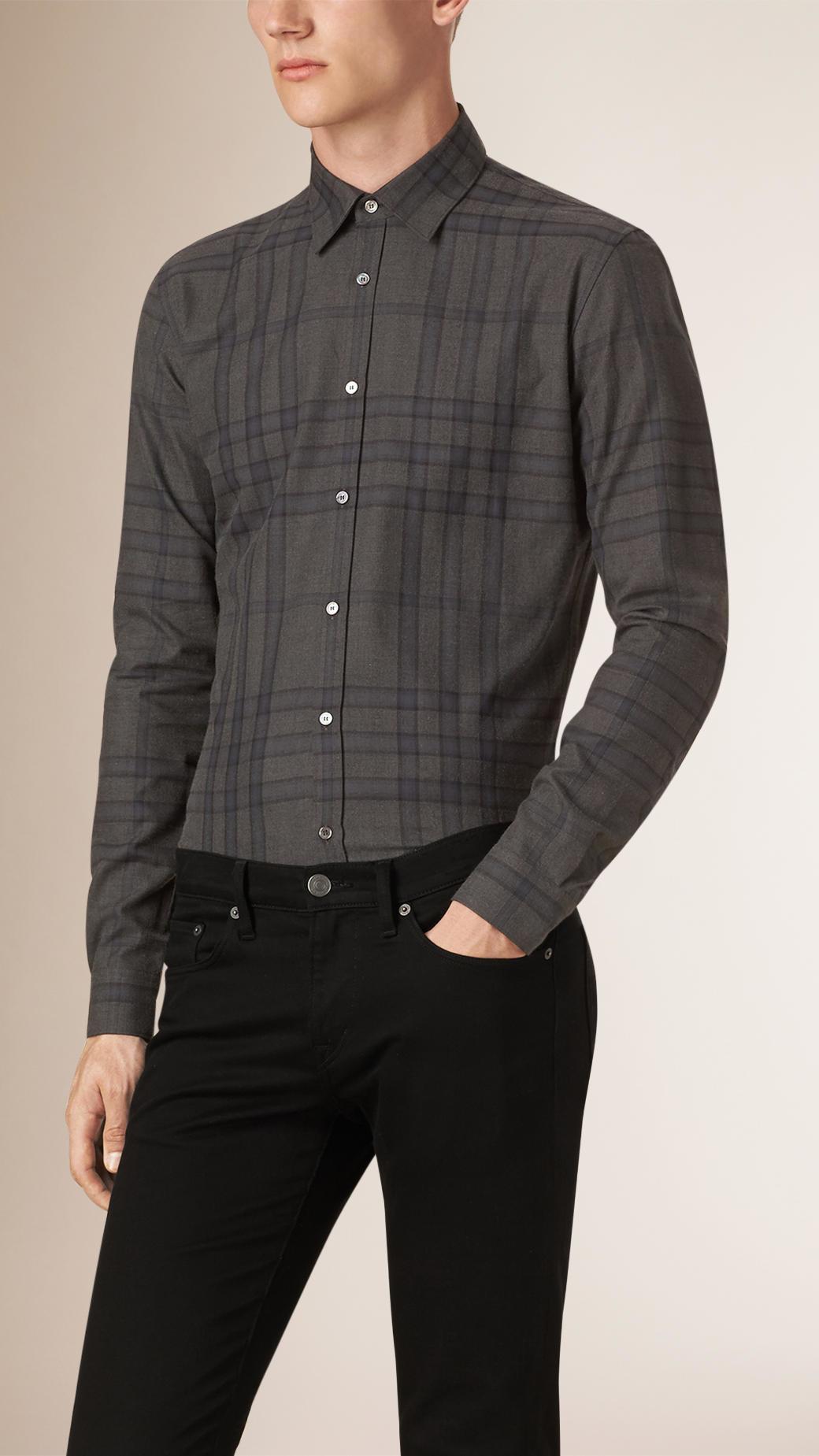 Burberry slim fit check cotton flannel shirt in gray for for Women s slim fit flannel shirt