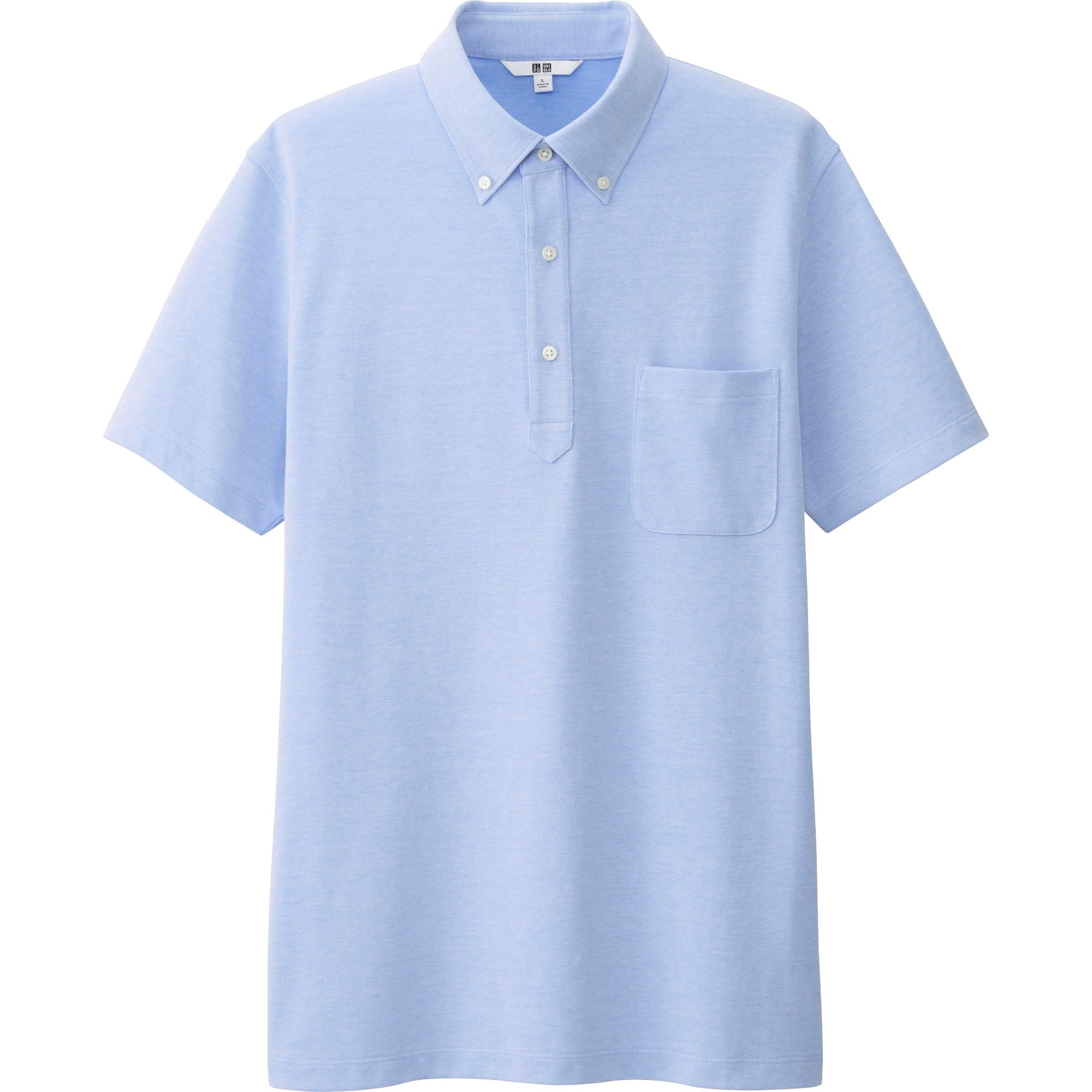 Uniqlo Men 39 S Dry Button Down Collar Polo Shirt In Blue For