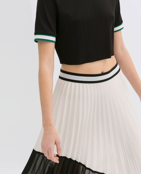 zara asymmetric twotone pleated skirt in black white