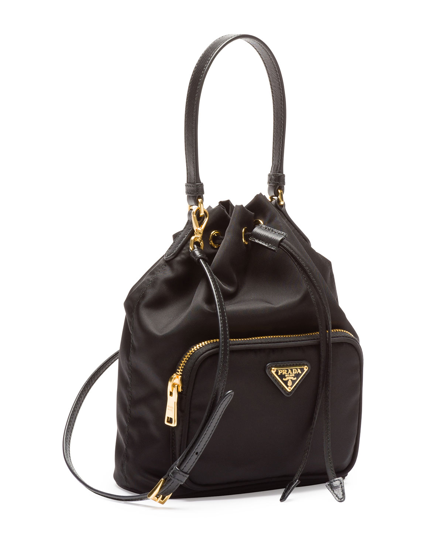 591b2a4bcb63 Prada Tessuto Mini Bucket Bag in Black - Lyst