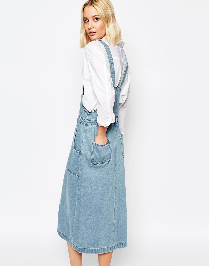 Adpt Dpt Denim Dungaree Dress With Button Front in Blue