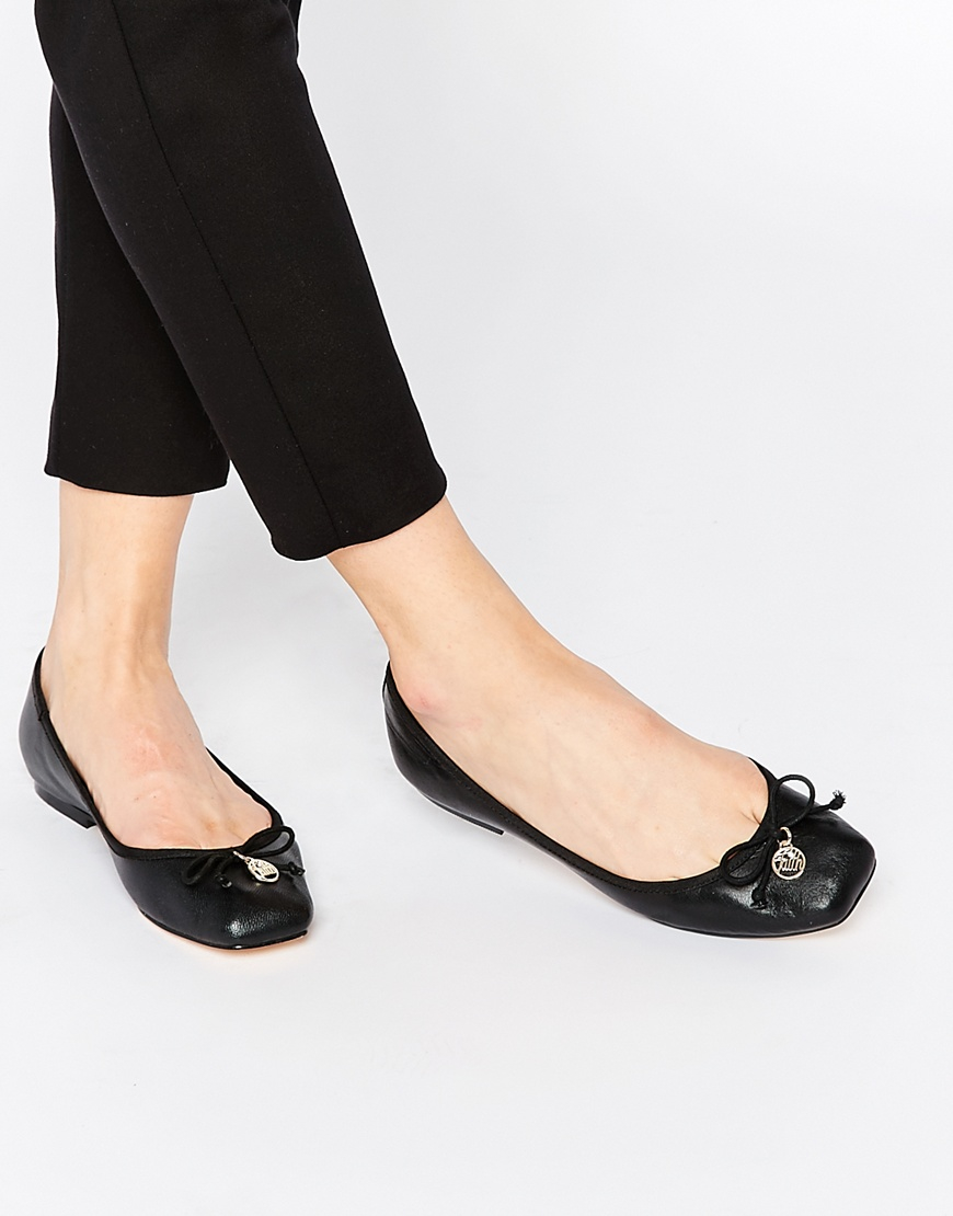 Black Square Toe Court Shoes